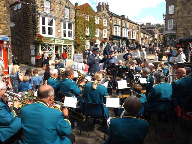 Summerbridge and Dacre Prize Silver Band playing in the main street.