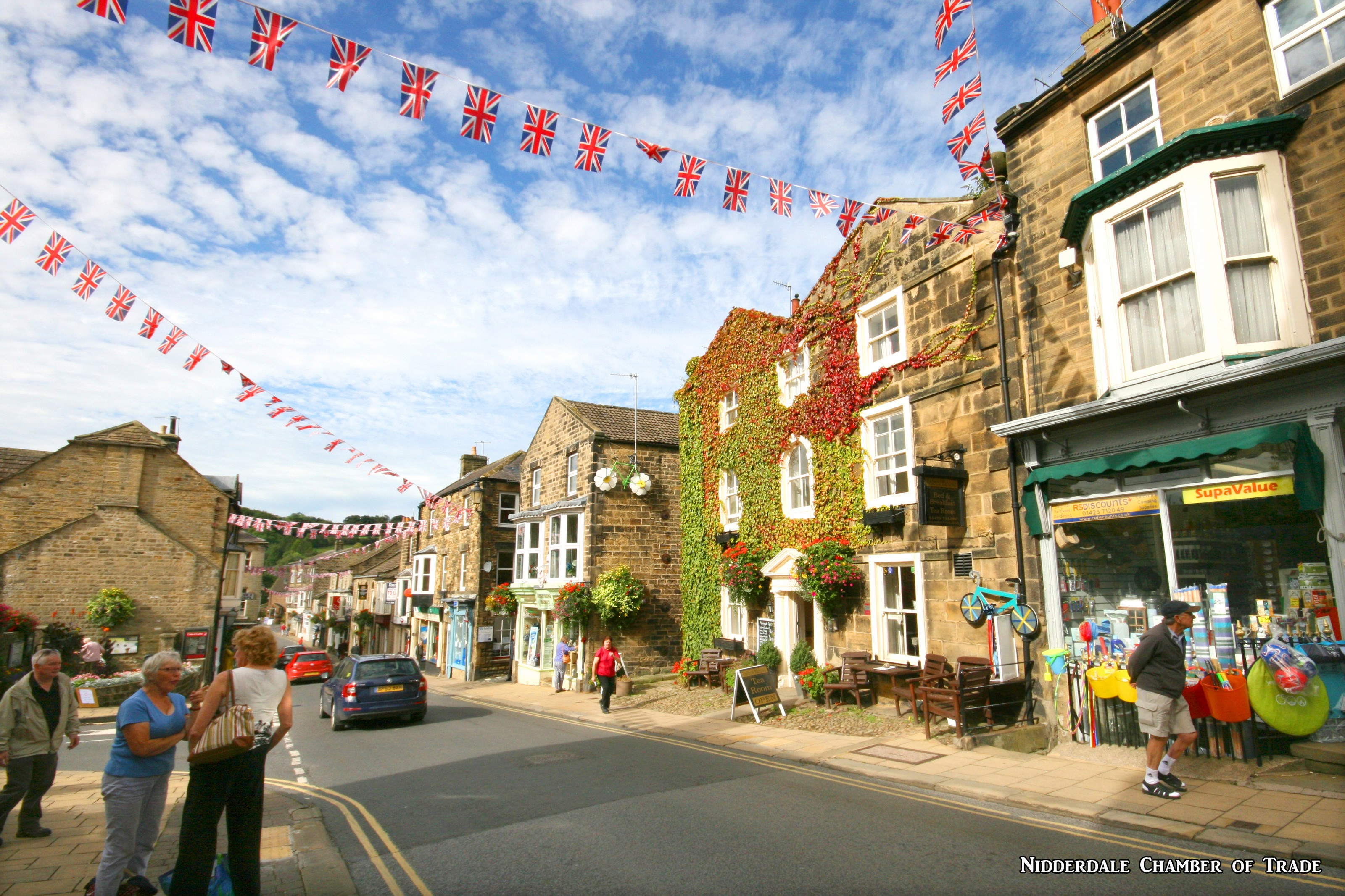 looking down Pateley Bridge High Street nidd chamber